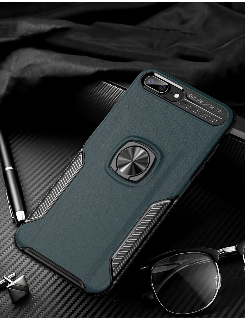 Luxury Leather skin Shockproof phone case For iPhone 7 8 6 6s plus back cover For iphone XR XS max cases with magnet ring holder (10)