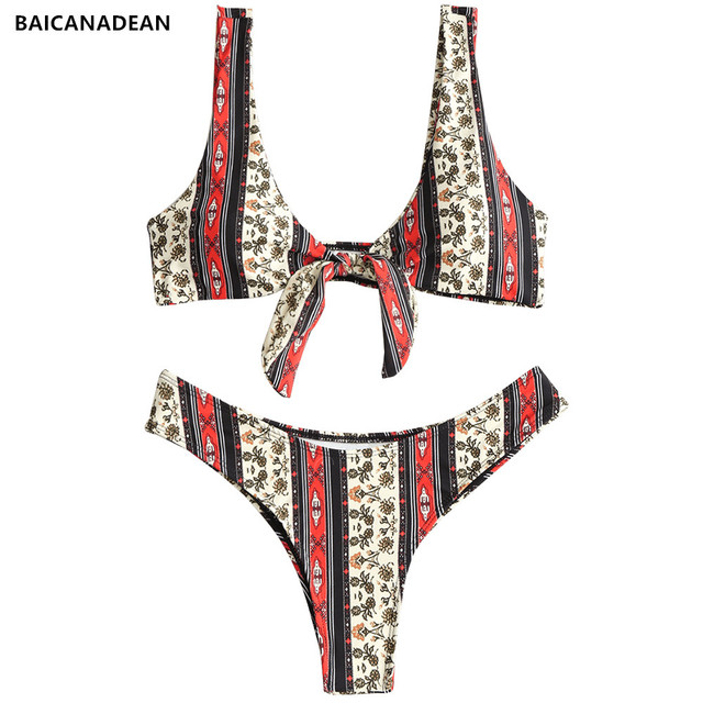 f6a22daefe BAICANADEAN 2019 Sexy Floral Front Knotted Striped Biquini Swim Bathing Suit  Backless Swimsuit Thong Swimwear Women Bikini Set