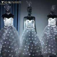 LED Wedding Dress Luminous Suits Light Clothing Glowing Wedding Skirt LED Wings For Women Ballroom Dance Dress