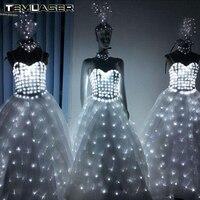 LED свадебное платье световой Костюмы свет Костюмы светящиеся свадьбы юбка привело крылья для Для женщин Костюмы для бальных танцев платье д