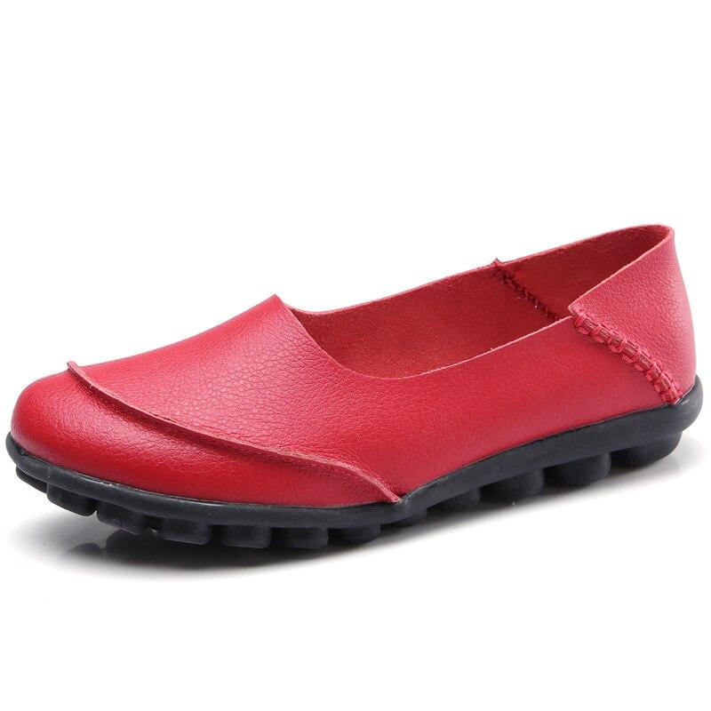 LYPO Vår sommar läder ärtor skor kvinnliga glidstorlekar stora - Damskor - Foto 2