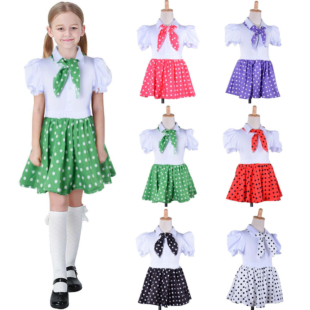 Little Girls 50s Polka Dots Sock Hop Costume Child 1950s Rock N Roll Grease Costume Rockabilly Skirt Blouse with Matching Scarf