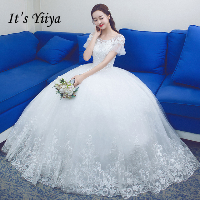 It\'s YiiYa Off White Hot Short Sleeve O Neck Bride Dress Simple ...