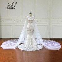 Eslieb Luxury Royal Train Mermaid Wedding Dresses Gorgeous Tulle Vestido De Noiva Sweetehart Plus Size Wedding