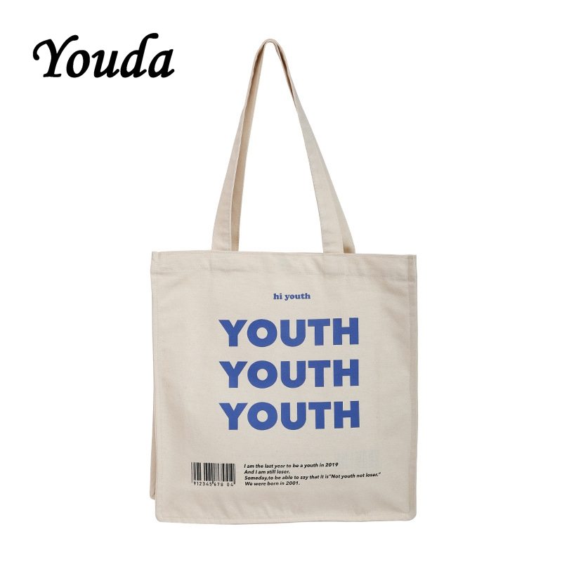 Youda Original Letter Print Shoulder Bag Fashion Style Ladies Canvas Bags Solid Color Handbags Portable Shopping Tote