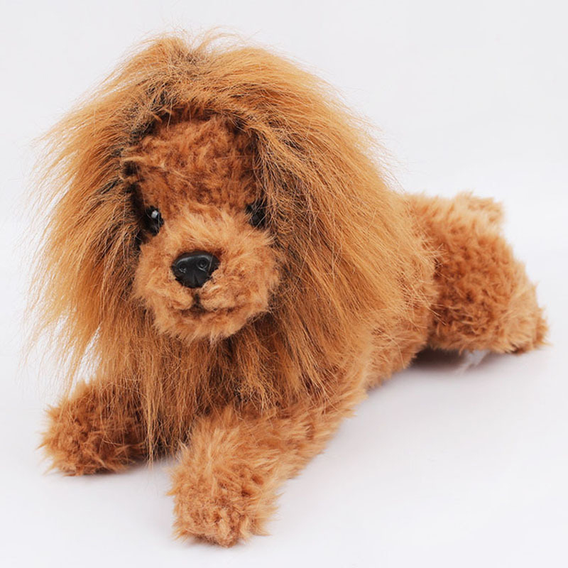 Cute Pet Cosplay Clothes Transfiguration Costume Lion Mane Winter Warm Wig Cat large Dog Party Decoration With Ear Pet Apparel