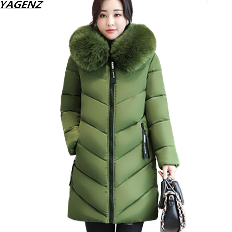 YAGENZ Plus size 6XL Winter Jacket New Women Down Cotton Overcoat Thick Warm Coat Elegant Slim Hooded Fur collar Jacket Female