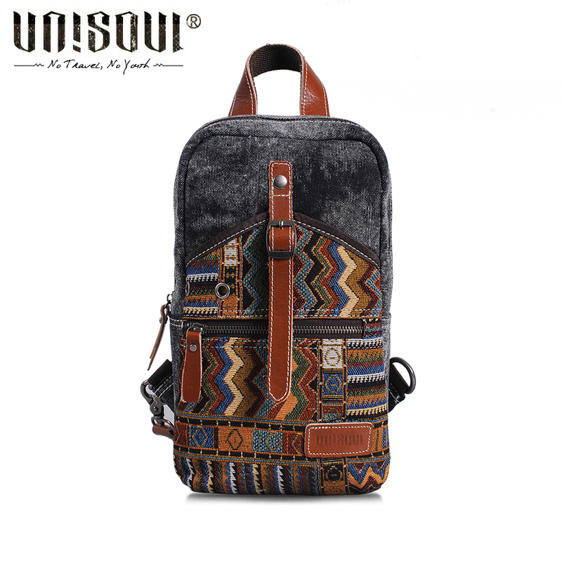 ФОТО UNISOUL National Men Chest Pack Canvas Crossbody Bags Striped Shoulder Bag Vintage male bag Original Travel bag