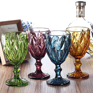 Image 2 - Wine Glass Cups Multicolor Carved Goblet Whiskey Red Wine Glasses 300ML Wedding Party Champagne Flutes Bar Restaurant Home Tools