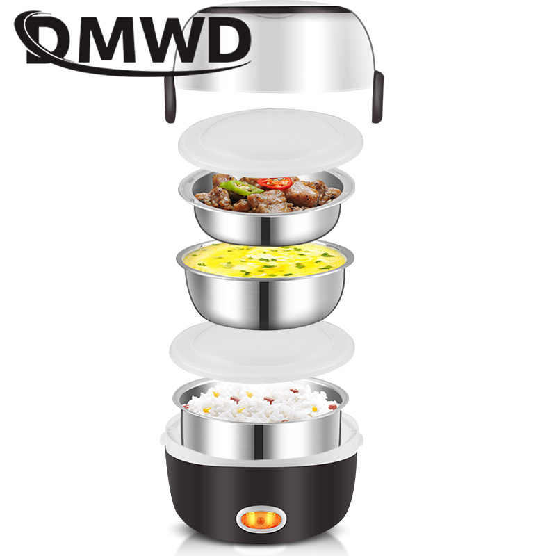 DMWD وعاء طبخ أرز كهربائي صغير الفولاذ المقاوم للصدأ 2/3 طبقات باخرة المحمولة وجبة الحرارية التدفئة الغداء صندوق لحفظ الطعام دفئا