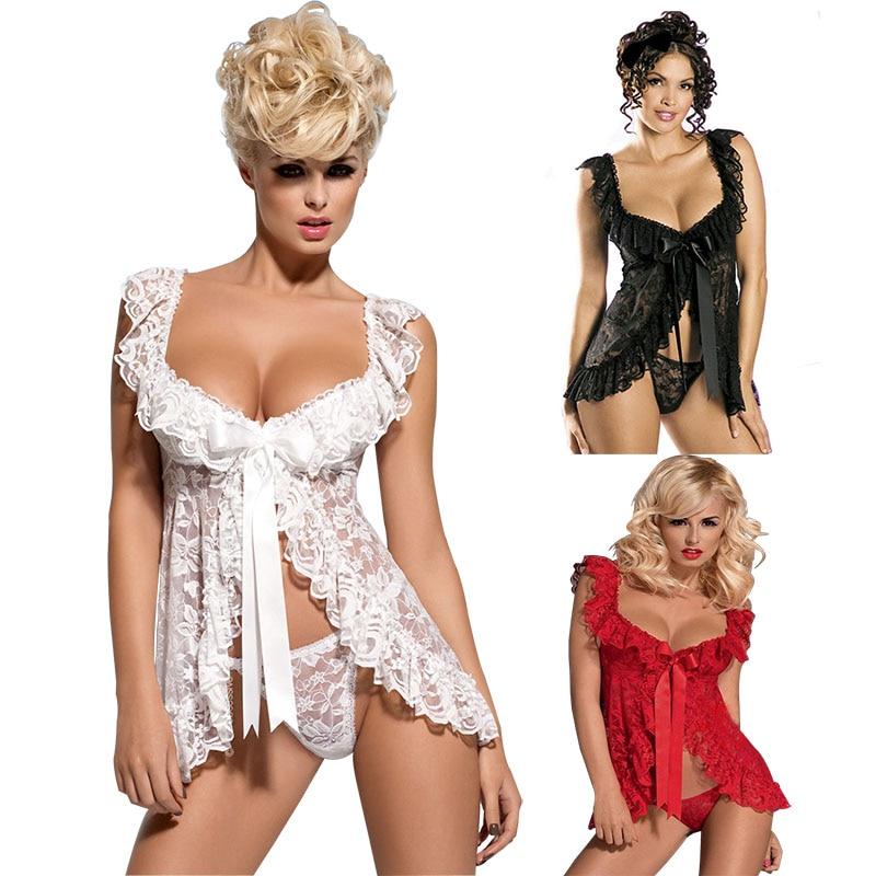 White Black Red Plus Size Lace S M L XL 2XL 3XL 4XL 5XL 6XL Sexy Lingerie Babydoll FrontOpen Nighty Chemise Sleepwear