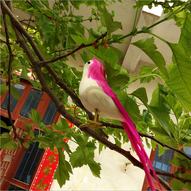 22cm1pcs fake feathers bird artificial foam simulation birds with magnetdiy wedding decorations