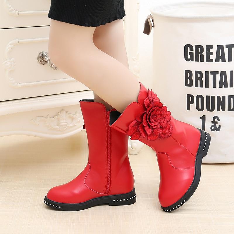 d5cd13043 Nueva flor botas de nieve de invierno altas para niñas zapatos de ...