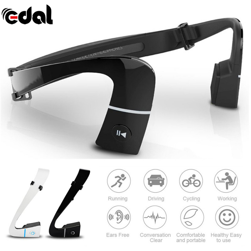 EDAL Wireless Bluetooth 4.1 Headset Bone Conduction Ear-phones Sports Outdoor Hands <font><b>Free</b></font> with Mic For Running