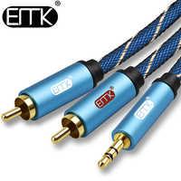 EMK kabel RCA 2RCA do 3.5 kabel Audio RCA 3.5mm Jack RCA przewód aux do wzmacniaczy DJ Subwoofer mikser Audio kino domowe dvd