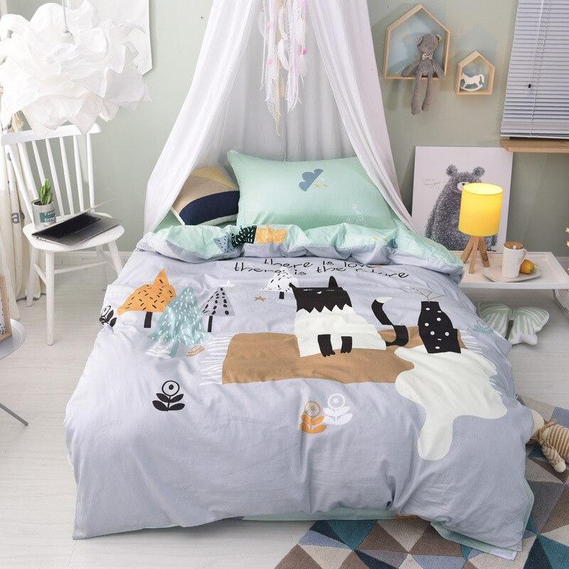 2018 child bedding set small fresh duvet cover bed sheets cotton cartoon girls korean roupa de cama sabanas home textiles