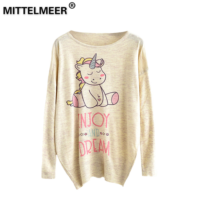 MITTELMEER 2018 bts Harajuku Sweater Woman girls student knitting Cartoon unicorn Flowers cat Animal fruit printing Sweater