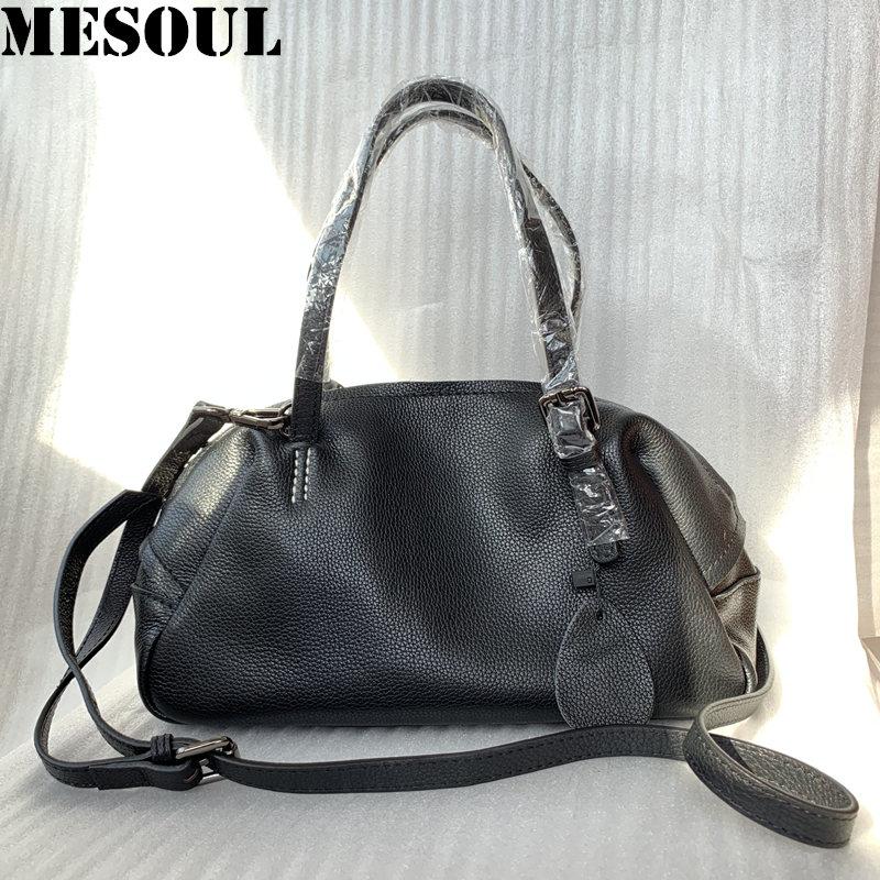 MESOUL Brand Designer Handbags Women Genuine Leather Tote Bag Female Fashion Portable Shoulder Bags Ladies Messenger Bag Hobos