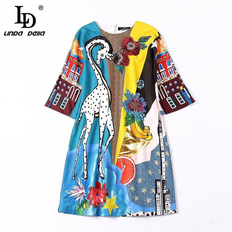 LD LINDA DELLA Piste Designer Robe D'été Femmes de Demi De Douille de Luxe Sequin Animaux Imprimer Casual Lâche Élégante Robe Robes - 6