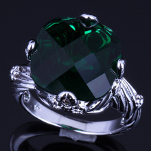 Excellent Big Square Green Cubic Zirconia 925 Sterling Silver Ring For Women V0154