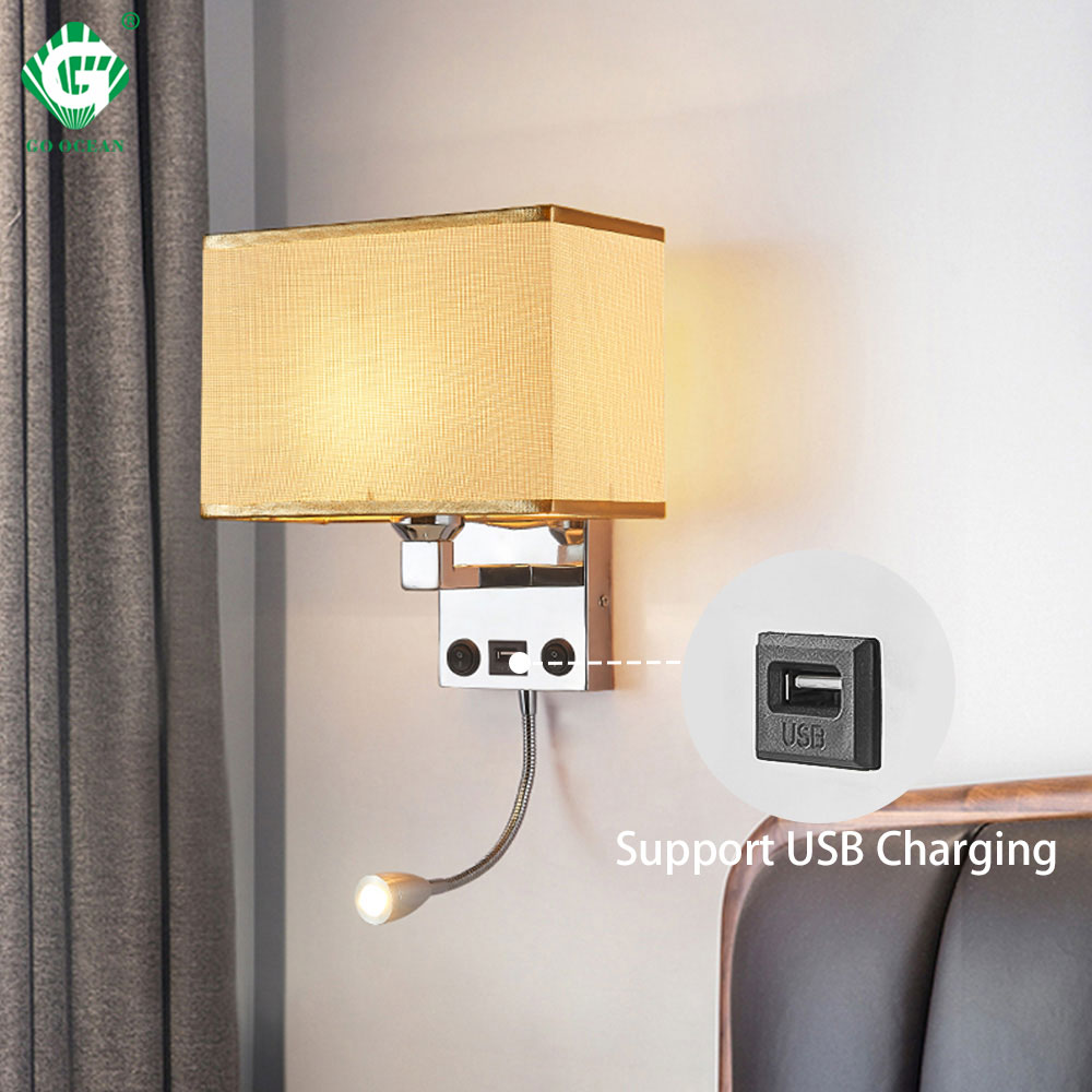 LED wall lights Sconce in the bedroom interior Wall Sconces With Switch E27 Bulb USB Modern