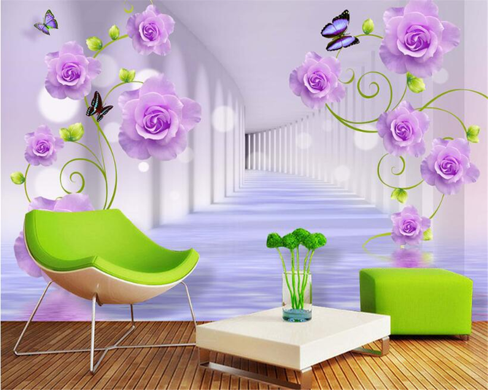 Beibehang 3D Wallpaper Purple Rose Stereo TV Background Wall Living Room Bedroom Mural wallpaper for walls 3 d papel de parede custom 3d wallpaper pink rose and butterfly mural for the living room bedroom tv background wall vinyl papel de parede
