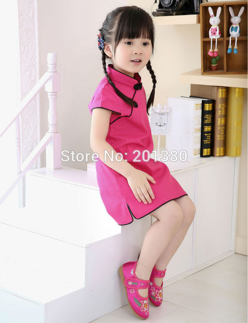 e42ce42247ac10 2017 New Year Chinese Girls dress baby girl clothes QIPAO cheongsam cotton  Traditional dresses