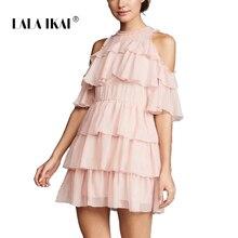4b1800ca38 LALA IKAI Sweet Pink Chiffon A-Line Women Dresses Summer Vintage Dress  Ladies Cute Ruffles
