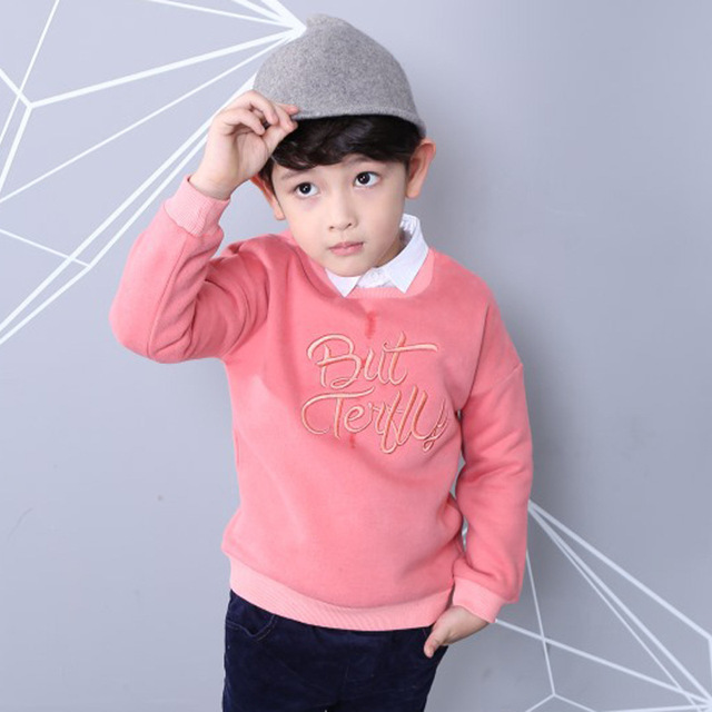 Autumn T-shirts For Boys Tops Tees Kids Cotton Boys Letters T Shirt Long Sleeve O-neck Warm Children Boy Clothes Sweatshirt