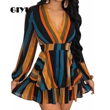 GIYU Spring Women V Neck Long Sleeve Dress Party Mini Dresses Ruffles Vestido Sexy A Line High Waist robe femme giyu summer flower printing women long chiffon dress holiday bohemia dresses long sleeve vestido sexy high waist robe femme