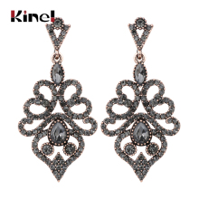 Kinel Boho Women Earrings Antique Gold Vintage Drop Earrings Gray Crystal Flower Ethnic Turkish Jewelry kinel 2020 new boho ethnic big drop earrings antique gold color beach gray crystal bridal earrings for women vintage jewelry