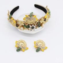Baroque Bee Headband for Women Jewel Jewelled Head Band Diamond Hairband Rhinestone Hair Accessories Pearl Alice Band Earings цена в Москве и Питере