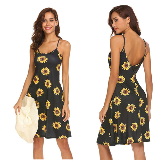 Europe and America Ladies Spring and Summer Print Sexy Suspenders Beach Dress