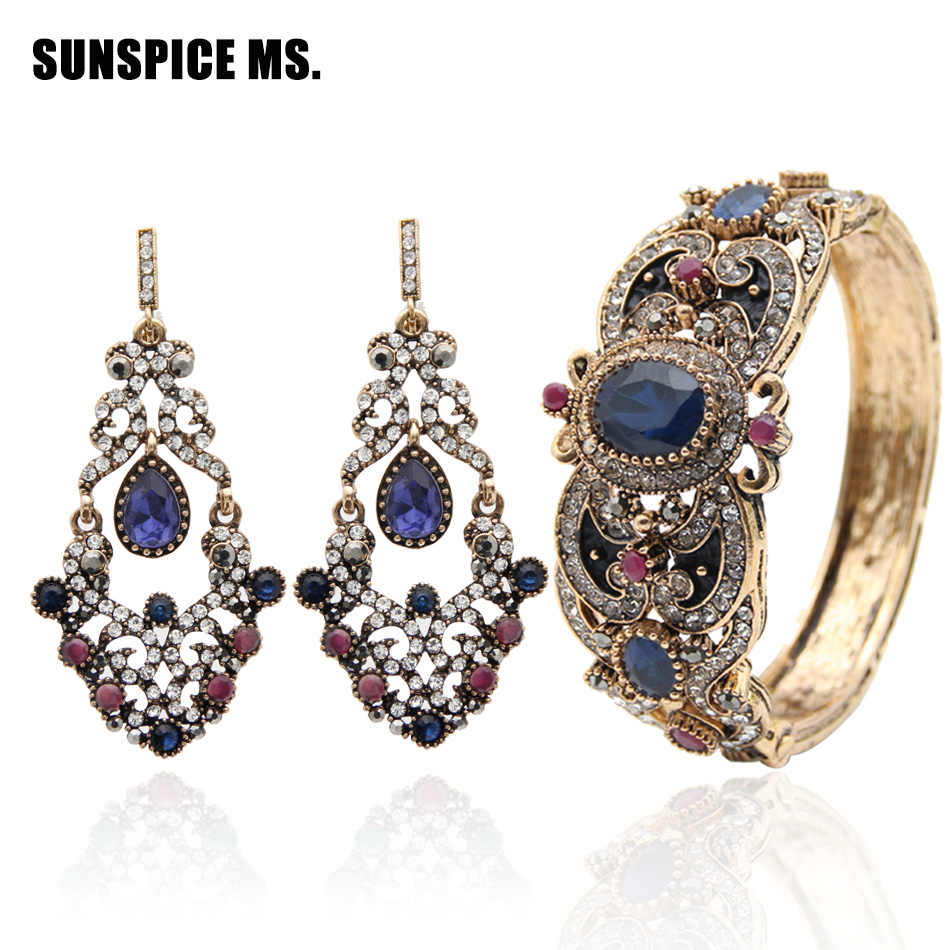 Promotion Indian Women Hollow Flower Jewelry Sets Round Resin Bangle Long Antique Hook Dangle Earrings Ethnic Bracelet Cuff