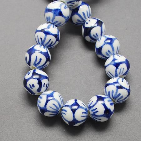 PandaHall 200pc 12 14mm Handmade Porcelain Ceramic Clay Hard Ball Jewelry Making DIY Sale Beads Blue