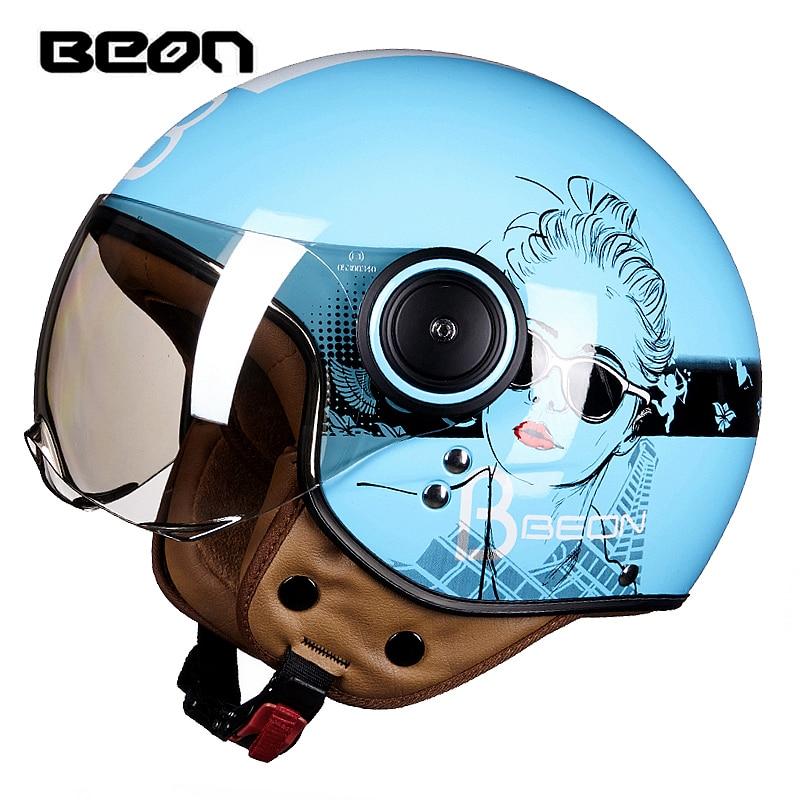 BEON Half Face Motorcycle Helmet Men Vintage Scooter Open Face Retro Women Motor Bike Helmet ECE Motorbike Helmets For Harley цена