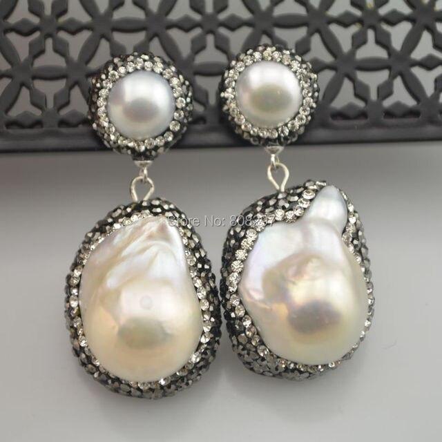 Для женщин 3 пара 925 натуральный белый цвет корпуса перл шарм мотаться проложить горный хрусталь кристалл очарование жемчужные украшения