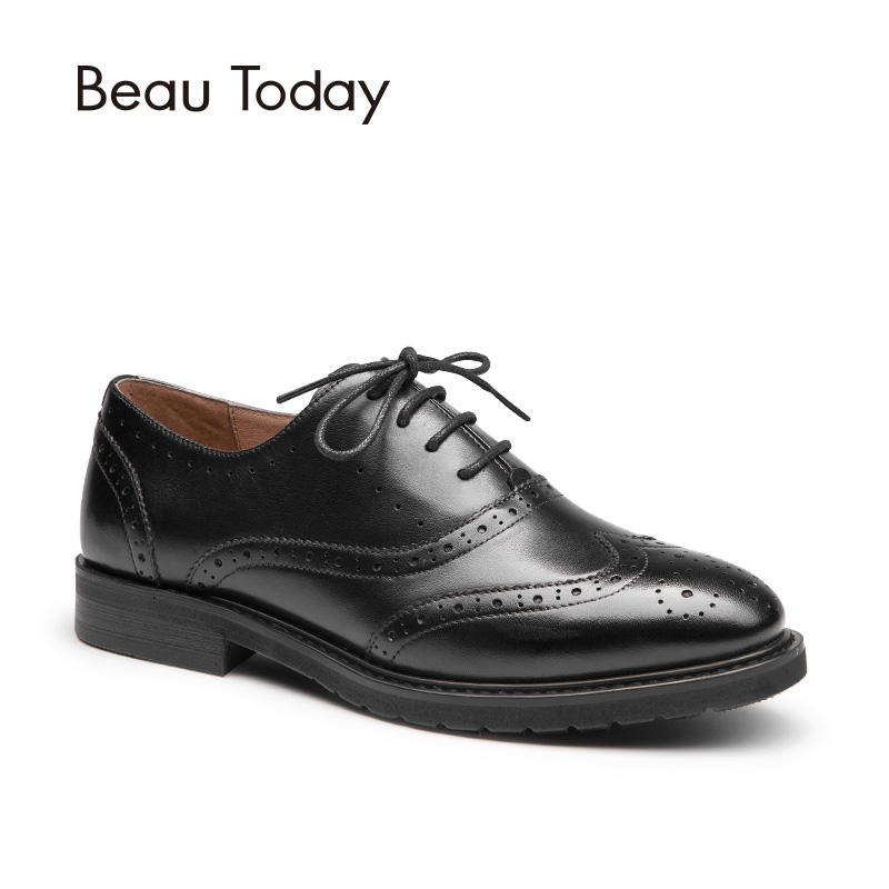 BeauToday Oxfords Women Genuine Calfskin Brogue Style Lace-Up Top Quality Brand Shoes Waxing Leather Wingtip Ladies Flats 21069 33 45 size women genuine leather oxford shoes fashion round toe lace up flat ladies england style brogue oxfords for women d005