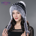 ENJOYFUR winter fur hats for women rex rabbit fur with fox fur pom poms ear protect warm winter bomer hat brand new fur hats