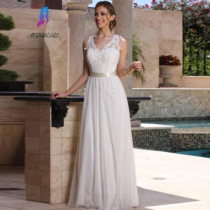 hot sale online custom made white chiffon beach wedding dresses sleeveless sheer see through back bridal