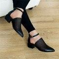 PXELENA Elegante Retro Para Mujer Cut Out Mesh Bloquear Chunky de Tacón Cuadrado de Cuero Roma Zapato con Cierre de Gladiador SandalsShoes