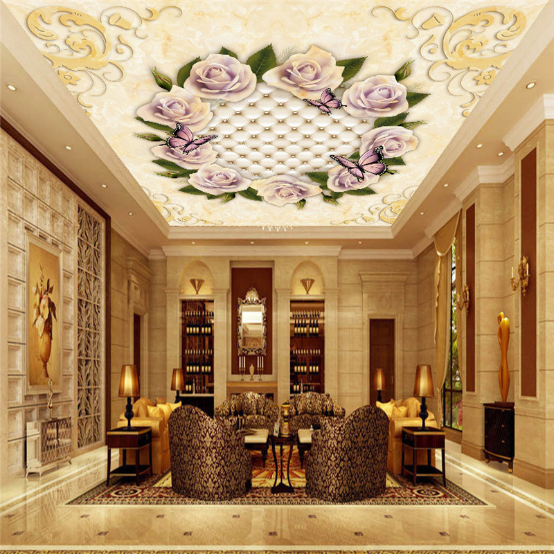 Custom Photo Wall Murals 3D Ceiling Wallpapers Flowers Cameo Marble Florals Walls Papers for Living Room Bedding Room Home Decor european luxury wallpapers rolls non woven 3d wallpaper for living room bedroom walls papers home decor gold florals pattern