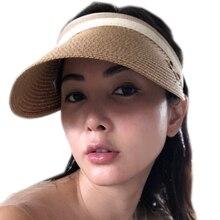 2019 New Womens Sun Hats Handmade Straw Visor Caps Parent-Child Summer Hat Empty Top Beach