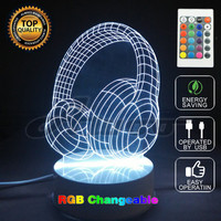Novelty 7 Color Changing Acrylic Colorful Gradient Atmosphere 3DGlow Party Decor Light Headset Lamp