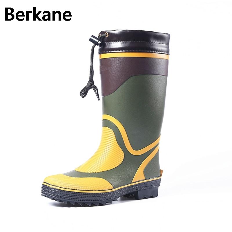 Rubber rain boots men winter fishing boots high water for Rubber fishing boots