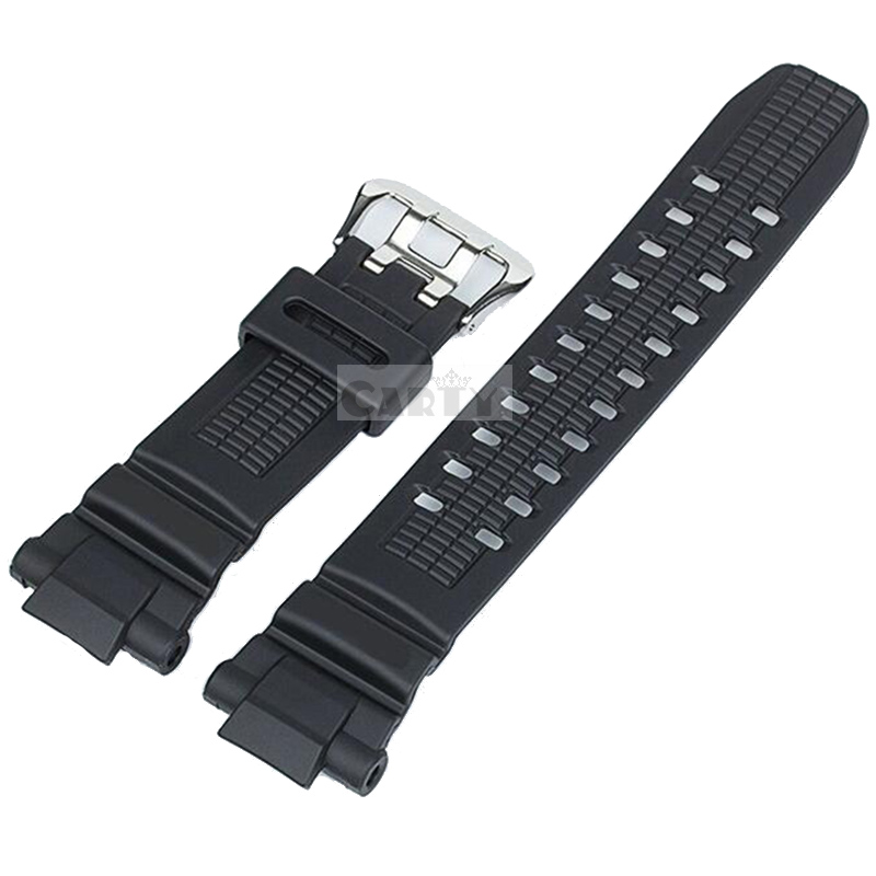 Klassiske G Type Shock Sprot Watches 16mm sort gummiharpiks urbåndrem til GW-3500B / GW-3000B / GW-2000