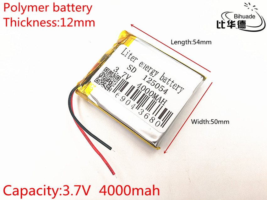 10pcs 2019 new batteries 3.7V 4000mAh <font><b>125054</b></font> lithium polymer battery MP3 MP4 navigation instruments small toys image