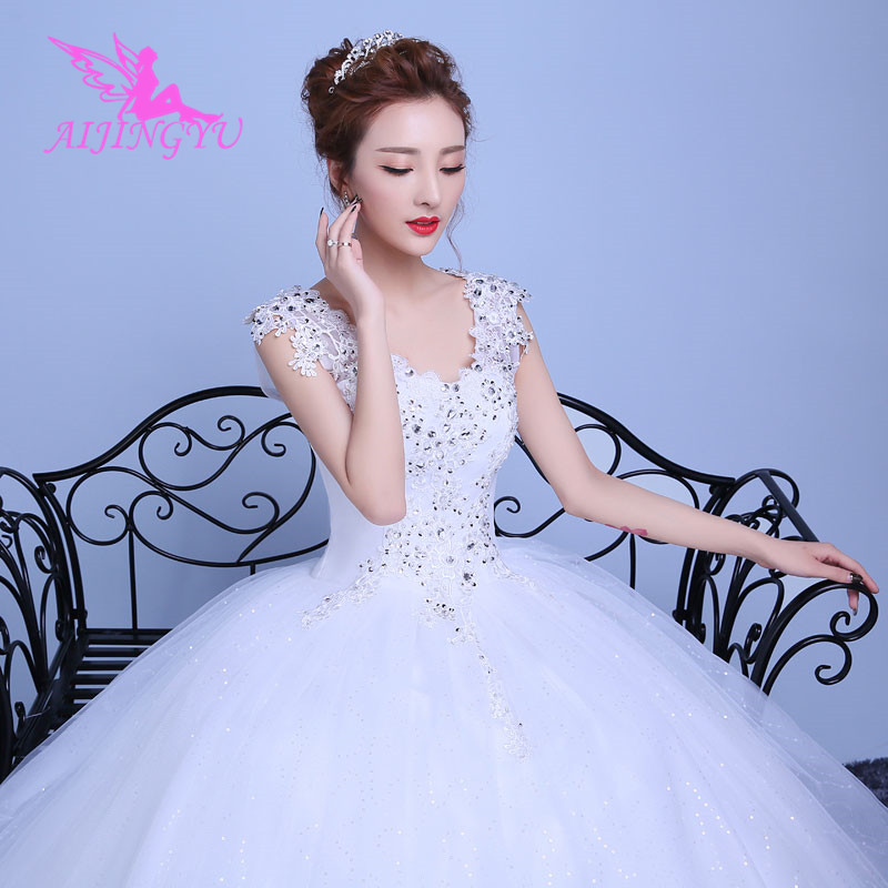 AIJINGYU 2018 Plus Size Free Shipping New Hot Selling Cheap Ball Gown Lace Up Back Formal Bride Dresses Wedding Dress WK242