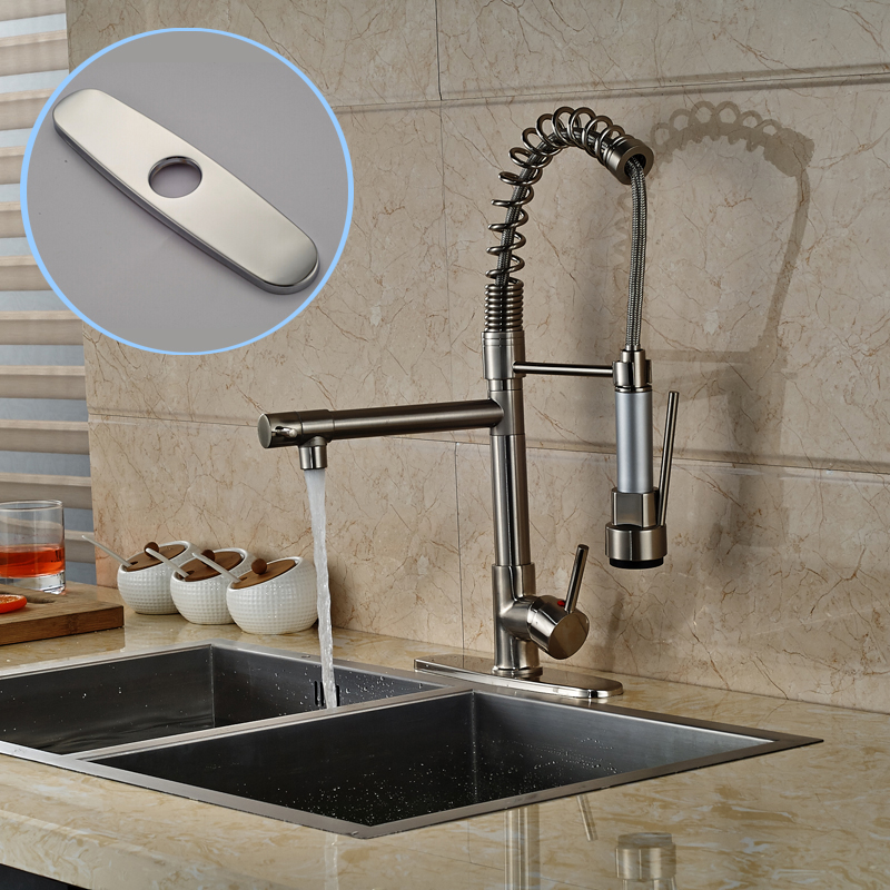 Brushed Nickel Pull Down Spring Kitchen Faucet Deck Mount 2 Swivel Spout Mixer Tap Single Handle