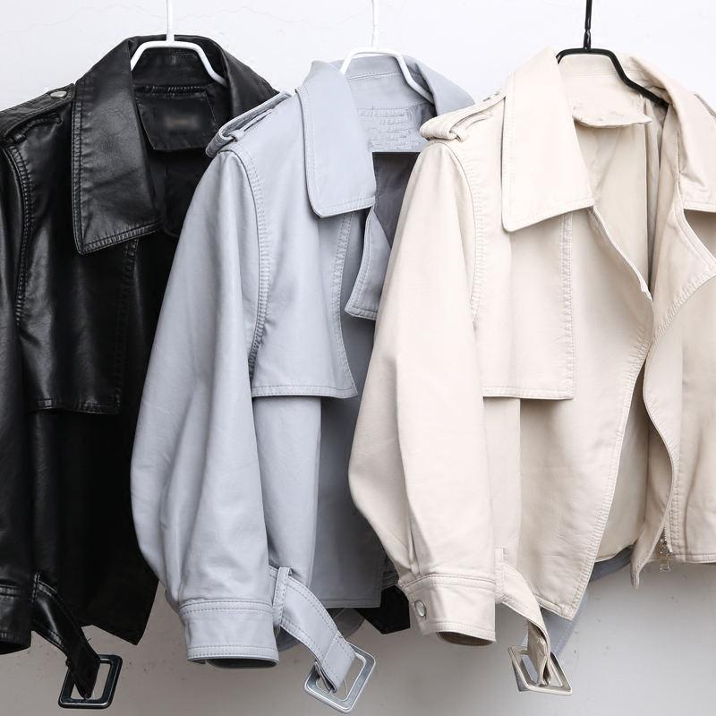 Nouveau revers Motorcyc cuir veste femmes taille réglable PU Faux cuir veste manteau noir rose court Biker veste femme C5347